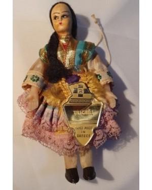 Boneca Grega Antiga Tecido Sobre Plástico, 1960 Triceri. Mede 12 cm altura
