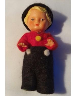bonequinho c barrete antigo 1960, feito á mão,Europa 1960, mede 8 cm altura, bom estado, plástico e tecido, para coleção / vitrine.