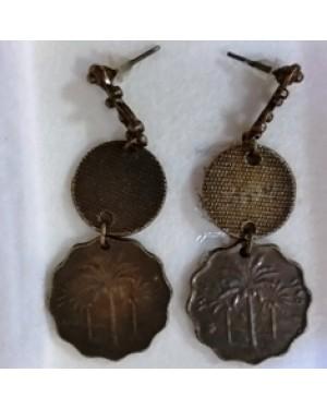 brincos em metal bronzeado,estilo chinês,p orelhas c orifício,perfeito estado, 38 mm comprimento mod A