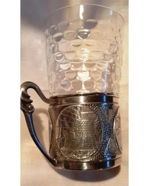 Porta copos com alça em banho prata forte cenas de Israel israelita hebreu em alto relevo  mede 6 x 6 cm, perfeito estado