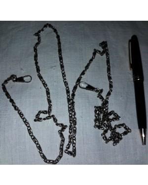 correntes para relogios de bolso, metal niquelado, 2 peças, uma c 40 cm, outra c 70 cm,só vendemos o lote