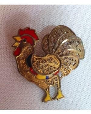 Galo Português filigrana, prata c banho ouro e esmalte .usado 1950. Mede 2 X 2,3 cm c alfinete atrás.