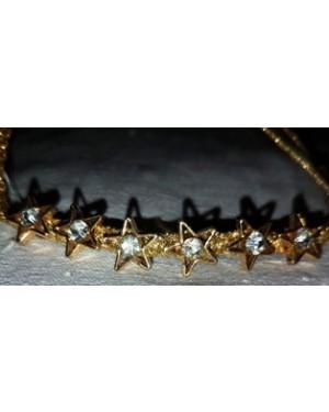 pulseirinha em couro trançado,com estrelinhas arremate em metal,tamanho p, bom estado.