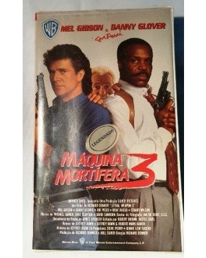 Máquina mortífera 3, VHS Mel Gibson & Danny Glover,, Warner Bross Hifi Stéreo, 1992, bom estado!
