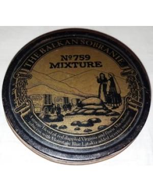 lata antiga, de tabaco MIXTURE Nº 759, THE BALKAN SOBERANIE 1950 aprx, MADE IN ENGLAND mede 2x 10 cm, muito bom estado,para coleção.