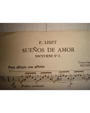 """PARTITURA P/ VIOLÃO, (""""SUENOS DE AMOR"""" F. LISZT), FEITO NA ARGENTINA 1958."""