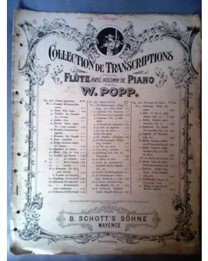 """PARTITURA PIANO Antiga partitura """"La Serenata"""" de G. Braga. Impresso na Alemanha, anos 30 aprx. Flauta e Piano."""