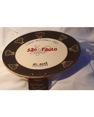 prato cerâmica,Restaurante São pedro São Paulo festival Gastronômico 2005 Cláudia Rocha , artista plástica,  Mede 28 cm diâmetro