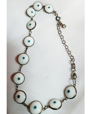 olho grego pulseira prata de lei e cristal linda perfeita p sorte ..comprimento24 cm.