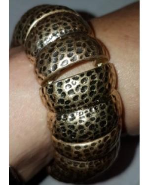pulseira tangerina,metal dourado, estica com elástico, largura 2 cm,bom estado.