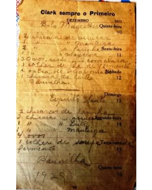 """receita antiga grátis,p copiar , escrita em papel das casas CLARCK, dezembro de 1925... """"BOLO MAJESTOSO"""""""