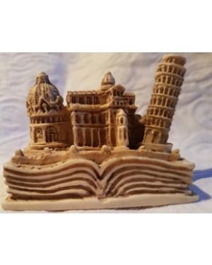 torre de pisa, recordação de viagem 10 x 5 cm, perfeito estado, pequena maquete em madeira e resina, guardada na embalagem, sem uso, 1999,