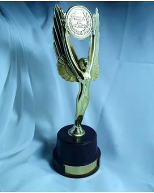 Troféu honra ao mérito plástico lindíssimo PIAZZA guardado sem uso, plaqueta metálica p possível  inscrição, 7 x 23 cm,