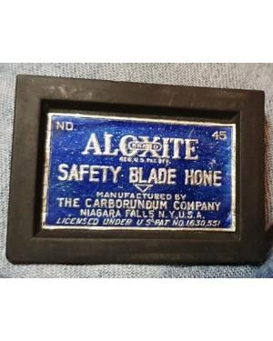 afiador carborundum, ALOXITE safety blade HONE, Niagara Falls , NY, USA. afiador de lâminas de barbear,  1930 aprx, bom estado.