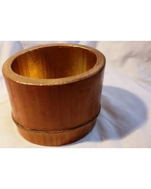pote, potiche, em madeira BAMBÚ, peça p adorno ou uso geral em decoração doméstica, mede 8 x 9 x 11 cm, usado em bom estado!