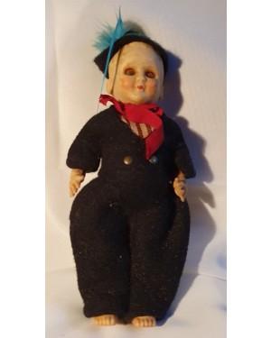 boneco antigo típico Blumenau tecido manual e plástico 1960 , bom estado , p coleção, 17 cm altura, olhinhos movem se!