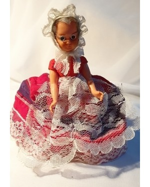 boneca vovó óculos estilo 1850 tecido e plástico 1960 ok , mede 14 cm altura, feita à mão, bom estado, para vitrine ou coleção.