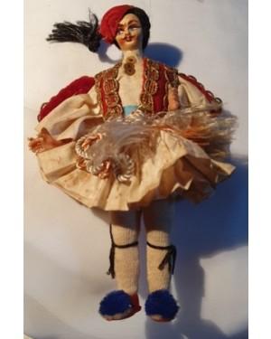 boneco antigo, típico GREGO, 1960 tecido, p coleção vitrine, marcas do tempo na antiguidade, mede altura 16 cm. Trazido da Grécia.