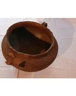 caçarola  tacho tempo escravos terracota anterior séc XIX restaurada 30 h, 33 boca x 40 cm d.p museu ou estudo!
