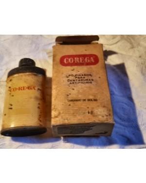 Corega fixador dentaduras farmácia  antigo caixa e lata originais coleção raridade.Ainda feito no Estado da GUANABARA!!!
