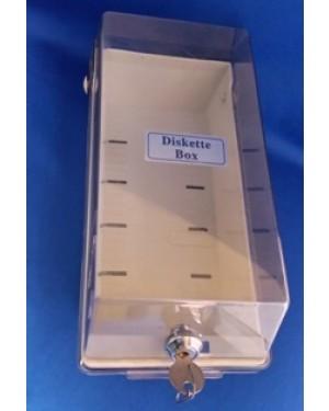 caixa para antigos disquetes de computador,1980 aprx ,com a chave funcionando, mede  10 x 28 cm, material plástico