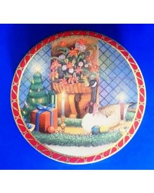 Lata -tin box-caixa de metal-tin box-, alt 4,5 x 15 cm diametro cm,p coleção ,biscoitos - bom estado ,1960