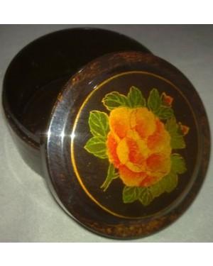 CAIXINHA C ROSA plastica, diametro 7 x altura 3,5 cm.Toda decorada em dourado e flores.