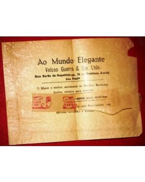 AO MUNDO ELEGANTE ENVELOPE ORIGINAL 1958 apx, da firma VELOSO GUERRA  & CIA. LTDA,sao paulo sp.Essa firma era sediada 'a rua barao de itapeteninga 26,centro.