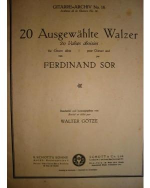 """PARTITURA DE VIOLÃO (f)  PARTITURA """"20 VALSAS P/ VIOLÃO"""" FERDINAND SOR. FEITO NA ALEMANHA. 1924."""