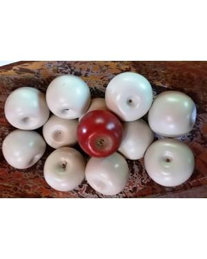 maçãs em madeira pintada e lustrada, para decoração de ambiente.Ideais p por em centro de mesa.Peças de 2005.