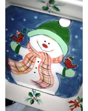 prato em porcelana, Itália,pintado à mão, decorativo,cena: boneco de neve,1980 aprx,mede:24 x 25 cm,assinado: Tema