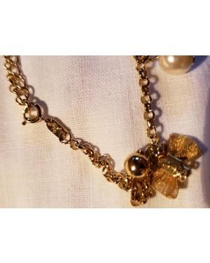 pulseira muito delicada, em banho de ouro, GMS,1980, perfeito estado, 7 cm circunferência, com adereços finos.