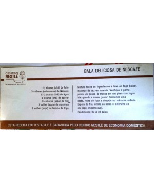 "receita antiga, gratis p copiar ,da NESTLÉ , ""BALA DELICIOSA DE NESCAFÉ"" 1960 aprx"