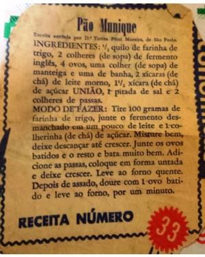 """receita antiga,n º33,  p copiar ,da açúcar UNIÃO, do """"PÃO MUNIQUE"""" , 1960 aprx"""