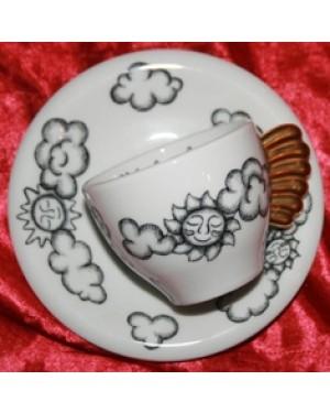 xicara para caffé al volo em porcelana para a sua coleção, Thun bozen italy em perfeito estado com um lindo desenho.